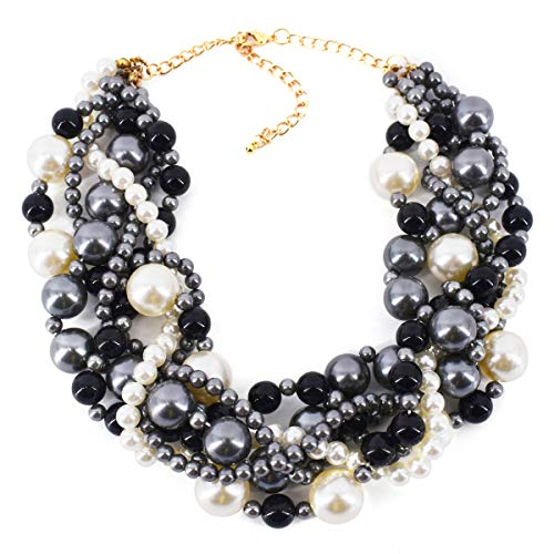 MeliMe Women's Pearl Necklace Twisty Chunky Bib Pearl Chokers for Wedding Party ()