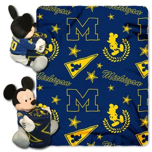 The Northwest Company Officially Licensed NCAA Michigan Wolverines Co Disney's Mickey Hugger and Fleece Throw Blanket Set