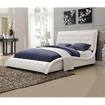 this item coaster 300372q tully modern queen bed white leather like upholstery - Queen Bed Frames