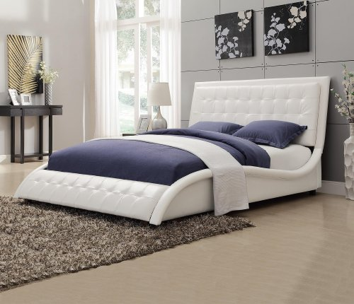 Coaster 300372Q Tully Modern Queen Bed White Leather Like Upholstery