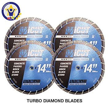 "4 PK - 14"" Turbo Diamond Saw Blades - All Purpose 12mm Segments - Brick"