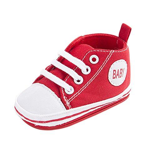 Nette Baby-Segeltuch-Turnschuh-Rutschfeste Weiche Trainer-Schuhe 0-18M Rot