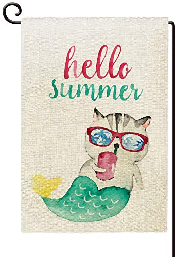 Agantree Art Hello Summer Mermaid Cat Garden Flag Waterproof Double Sided Yard Outdoor Decorative 12 x 18 Inch - Fun Cat Garden Flag
