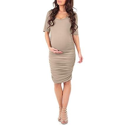 d951ef529e349 Amazon.com: Maternity Dress,Women Short Sleeves Bodycon O Neck Midi Party Maternity  Dress Soft Pregnant Dress Hemlock (M, Khaki): Cell Phones & Accessories