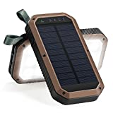 Solar Charger Hongro 8000mAh 3-Port USB Solar Panel Charger With 21LED Emergency Portable Solar Battery Bank Solar Panel Backpack for iphone iPad Samsung Android mobile phone (21LED-Coffee)