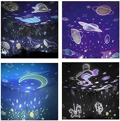 STN Lampara Proyector Estrellas Bebé, 360° Rotación con 8 Modos de Luz y 4 Escenas Temáticas Lámpara Proyector Luz Nocturna, Buen Regalo para Navidad, ...