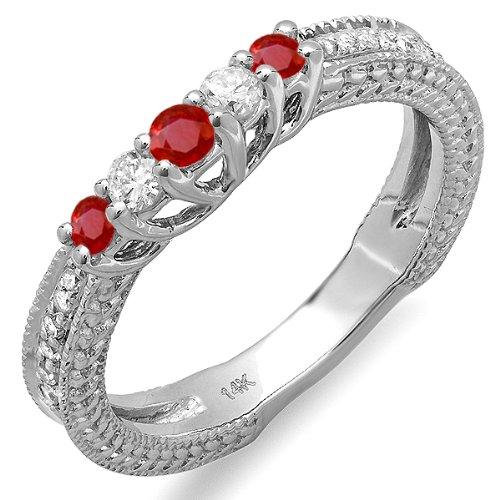 Dazzlingrock Collection 14k White Gold Round Ruby And White Diamond Ladies Anniversary Wedding Guard Enhancer Ring (Size 5) -