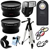 Ultimate Accessory Package for Canon EOS Canon 7D, 10D, 20D,30D, 40D, 50D, 60D, 70D Digital SLR Cameras Includes: Full size Tripod + 58mm Wide Angle and Telephoto Lens + Flash + Filter Kit and Hood + Wireless Remote