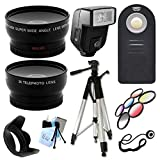 Ultimate Accessory Package for Canon EOS 1DX, 5D, 5D Mark II, 5D Mark III, 6D, 60Da Digital SLR Cameras Includes: Full size Tripod + 58mm Wide Angle and Telephoto Lens + Flash + Color Kit and Hood + Wireless Remote