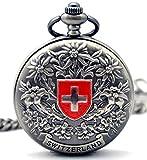 Infinite U Switzerland Cross Flower Gray Hollow Skeleton Steel Mechanical Pocket Watch