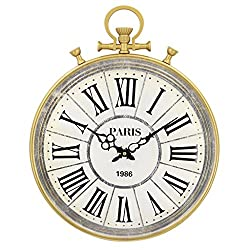 Nclon American Retro Wall Clock,Creative Pocket Watches Roman Numerals Metal Round Large Quartz Accurate Wall Clock White 40 49cm