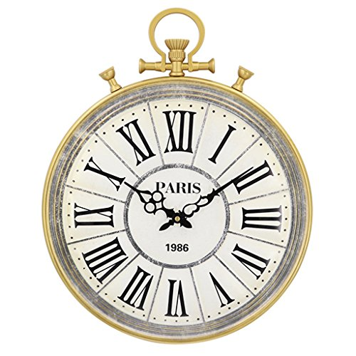 Nclon American Retro Wall Clock,Creative Pocket Watches Roman Numerals Metal Round Large Quartz Accurate Wall Clock White 40 - Watch Pocket Roman White Numeral