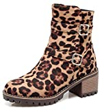IDIFU Women's Comfy Round Toe Chunky Mid Heel Faux Suede Ankle High Boots Side Zipper (Leopard, 6.5 B(M) US)