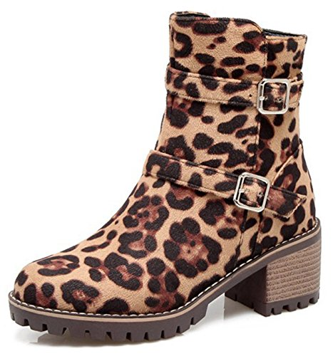 High Heel Suede With Side Faux Round IDIFU Mid Zipper Ankle Leopard Chunky Women's Boots Toe Comfy nxY11wvqg