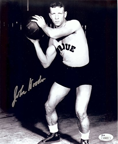 (John Wooden Signed Autographed 8X10 Photo Vintage Playing Purdue JSA COA)