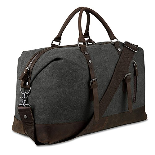 Canvas Overnight Bag Travel Duffel Genuine Leather for Men and Women Weekender Tote (Dark Grey)