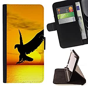 DEVIL CASE - FOR Samsung Galaxy Note 4 IV - Hawk Eagle Sunset Sun Yellow Orange Ocean - Style PU Leather Case Wallet Flip Stand Flap Closure Cover