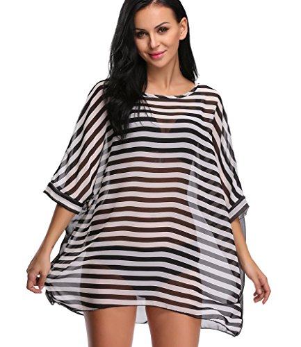 b1cbef6837ab3 LANFEI Women's Chiffon Swimwear Cover up Striped Tassel Beachwear Bikini