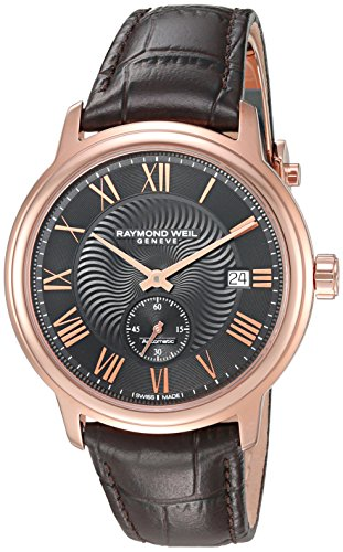 Raymond-Weil-Mens-Maestro-Swiss-Automatic-Stainless-Steel-and-Leather-Casual-Watch-ColorBrown-Model-2238-PC5-00209