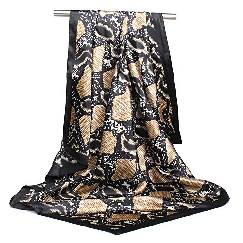 NUWEERIR Womens Large Satin Square Scarf Silk Feeling Hair Wrapping Gift Designer Scarf 35x35 Inches (28) -