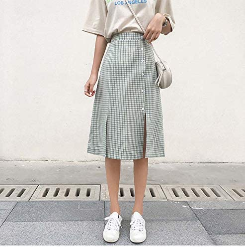 XGDLYQ Plaid Midi Skirt Women Fashion Ladies Slit High Waist Black Green Sun Skirt Female Green