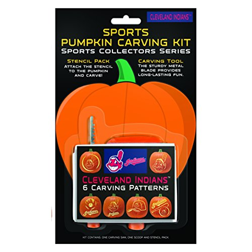 MLB Cleveland Indians Pumpkin Carving Kit, 6 Stencils, Orange -