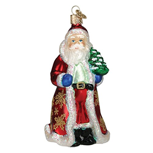 Old World Christmas Ornaments: Glistening Golden Santa Glass Blown Ornaments for Christmas Tree