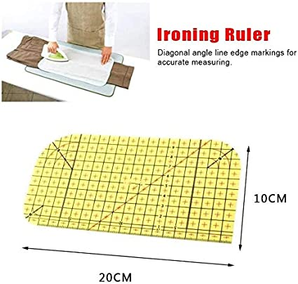 FASESH Ironing Ruler for Sewing Tailor Hot Ironing Ruler Patchwork Measuring Tool for Quilting DIY Craft Laser Cut Acrylic Quilters Ruler with Double Colored Grid Lines for Precision Cutting