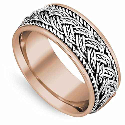 14K Two Tone (Rose and White) Gold Braided French Braid Men's Comfort Fit Wedding Band (10mm) Size-13c1