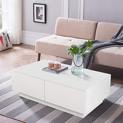 Origineel Salontafel woonkamertafel hoogglans wit met 4 laden modern design koffietafel tafel hout voor woonkamer kantoor woonkamermeubels 95 x 60 x 31 cm FDH6l39