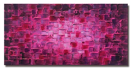 MyArton Textured Abstract Squares Canvas Wall Art Hand Painted Modern Purple Oil Painting for Decoration Ready to Hang 48x24inch by MyArton