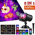 LYRABAY Outdoor Halloween Lights Projector 2-in-1 Ocean Wave 16 Slides Pattern Waterproof Xmas LED Projector Light, Yard Garden Holiday Christmas Party Decorations