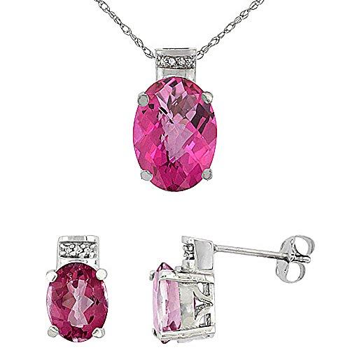 Or blanc 9Ct Topaze ovale rose naturel Boucles d'oreilles et pendentif Set Accents de diamant