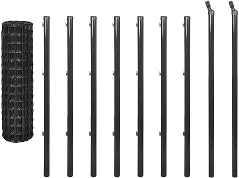 Zora Walter - Valla Euro de 10 x 1 m de acero gris para vallas de jardín, vallas exteriores, valla metálica para vallas de acero: Amazon.es: Bricolaje y herramientas