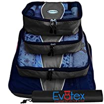 EvatexLuxury Packing Cubes, 4 Pcs Set (Red), with Laundry, Shoe Bag