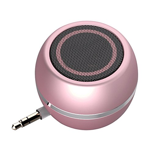 Rumfo Mini Phone Speaker Portable Wireless Plug in Speaker with 3.5mm Aux Audio Jack Rechargeable Plug and Play Clear Bass Speaker Universal For Cell Phone iPad MP3 MP4 Tablet Computer - Psp Gold Go Case