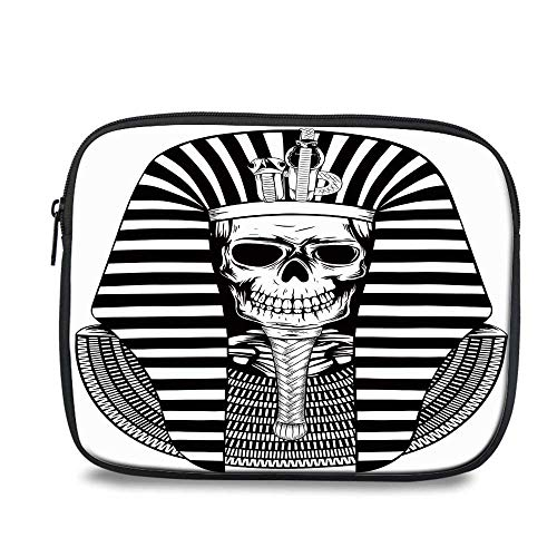 King Durable iPad Bag,Egyptian Pharaoh Ruler Mummy Skull Skeleton Statue for Ancient Egypt Lovers Print for iPad,10.6