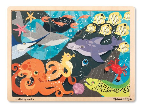 Melissa & Doug Ocean Pals Wooden Jigsaw Puzzle With Storage Tray (24 pcs)