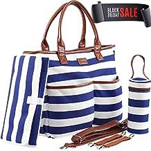 Diaper Bag - Machine Washable Designer Purse - Diaper Tote Bag - Baby Shower Gifts - Changing Pad - Bottle Holder - Stroller Straps (Blue)