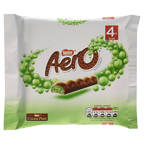Aero Caramel - Aero Mint Chocolate Bubbly Bar 4 x 27g Pack - 3.8oz (British Chocolate)