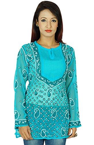 Diseñador indio regalo vestido Kurti étnico para ella Chikan bordado Kurta Mujeres Azul y del blanco