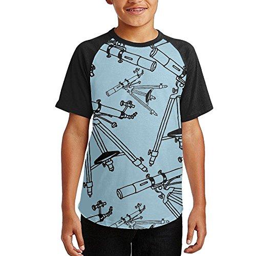 Cheap Astronomy Telescope Youth Short Sleeves Raglan Print Baseball T Shirts Tees for sale