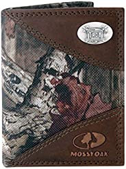 ZEP-PRO NCAA Mens Mossy Oak Nylon and Leather Trifold Concho Wallet