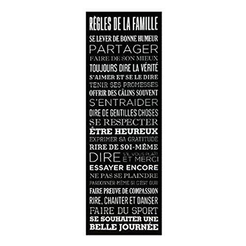 Paris Prix - Toile Imprimée règles De La Famille 30x90cm Noir