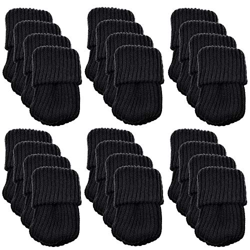NYKKOLA Socks, 24PCS Elastic Hardwood Floors Chair Leg Feet Protectors Covers Caps Set, Vertical Knitted Moving Easily and Reduce Noise Furniture Pads, Black (Chair Protectors Leg Tennis Ball)