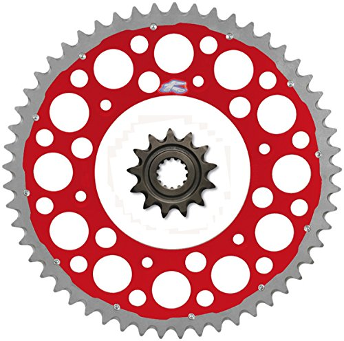 Renthal Grooved Front & Twinring Rear Sprocket Kit - 13/48 RED - Honda CR250R, CR500R, CRF450R, ()