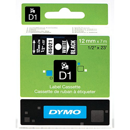 Permanent Self Adhesive Print (DYMO High-Performance Permanent Self-Adhesive D1 Polyester Tape for Label Makers, 1/2-inch, White Print on Black, 23-foot Cartridge,)