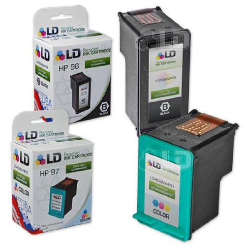 LD Remanufactured Replacements for HP 96 / C8767WN Black & HP 97 / C9363WN Color Set of 2 High Yield Ink (C9363wn Color Ink)