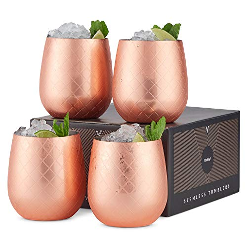 VonShef Copper Stemless Wine Glasses, Etched Copper Stainless Steel Tumblers, 12oz Cups, Set of 4 Wine Drinks Tumbler with Gift Box