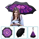 DOLIROX® Windproof Reverse Folding Double Layer Inverted Umbrella and Self Standing Inside Out Rain Protection Umbrella with C-shaped Hands Free Handle, Best for Travelling and Car Use (Balck Purple)
